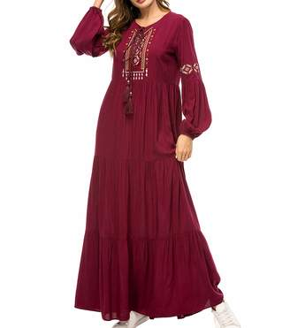 0a71d532851 Qianliniuinc Women Abaya Dress Kaftan Gown - Lady Plus Size Muslim  Embroidery Cocktail Maxi Dress Elegant