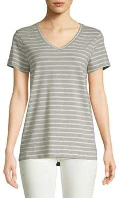 Saks Fifth Avenue Stripe V-Neck Tee