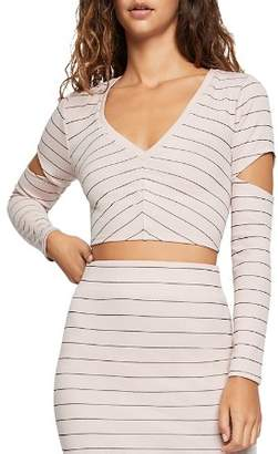 BCBGeneration Striped Cutout Cropped Top