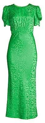 Saloni Women's Bianca Silk Jacquard Puff Sleeve Midi Sheath Dress