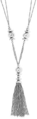 Liz Claiborne Silver-Tone Beaded Tassel Necklace