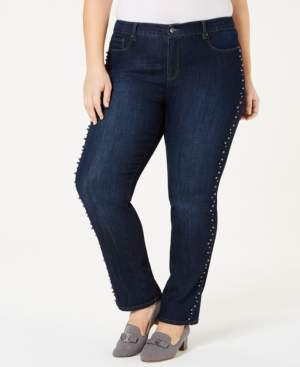 Charter Club Plus Size Faux-Pearl-Stud Jeans, Created for Macy's