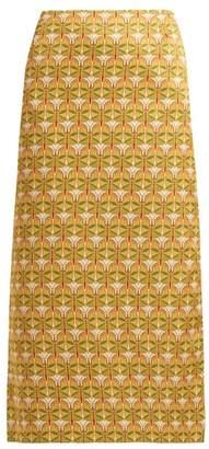 La Doublej - Mantis Print Satin Skirt - Womens - Yellow Multi