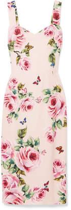 Dolce & Gabbana Floral-print Cady Midi Dress - Pink