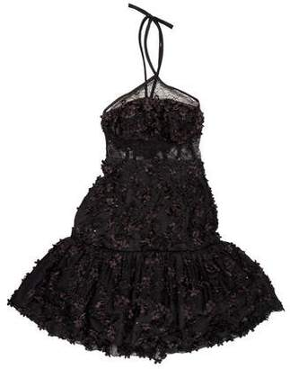 Oscar de la Renta Embellished Halter Dress w/ Tags