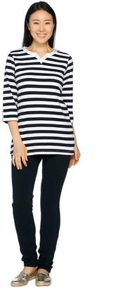 Factory Quacker Split V-Neck 3/4 Sleeve Tunic and Slim Leg Pants Set