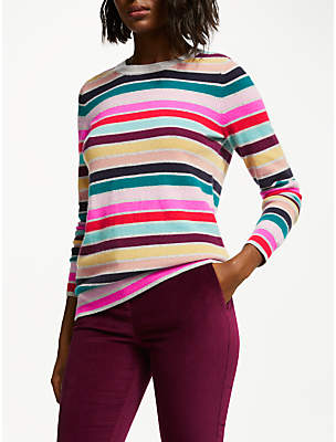 Boden Cashmere Crew Neck Jumper, Multi Stripe
