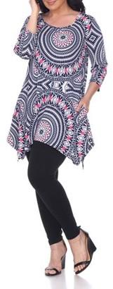 White Mark Women's Plus Size Three Quarter Sleeve Geometric Tunic Top With Print