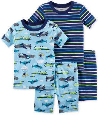 Carter's 4-Pc. Plane-Print Cotton Pajama Set, Baby Boys