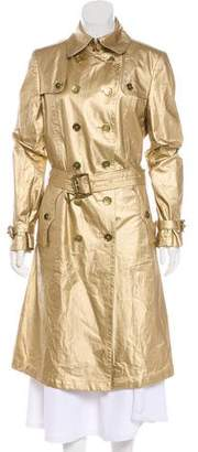 Burberry Metallic Double-Breasted Trench Coat