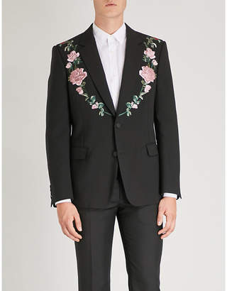 Alexander McQueen Floral-embroidered tailored-fit wool and silk-blend jacket