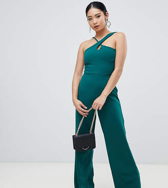 Missguided Petite strappy cross front wide leg jumpsuit in green
