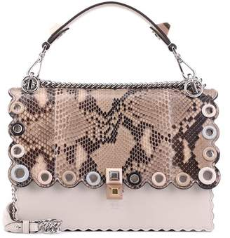Fendi Kan I snakeskin and leather shoulder bag