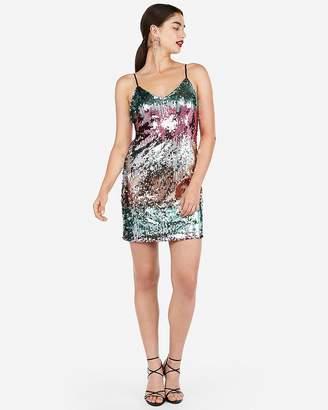 Express Petite Gradient Sequin Cami Dress
