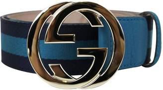 Gucci Women's Leather Webbing Interlocking G Buckle Belt 114876 4174 (85/34)