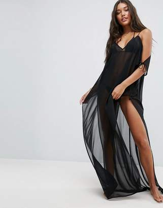 ASOS Chiffon Maxi Beach Caftan with Cold Shoulders $42 thestylecure.com