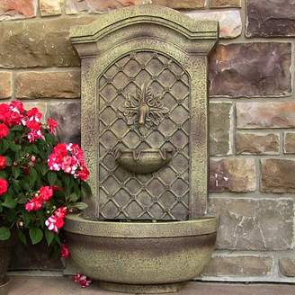 Wildon Home Polystone Rosette Leaf Outdoor Wall Fountain