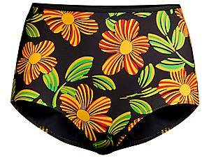 BRIGITTE Solid and Striped Women's The Floral High-Rise Bikini Bottoms