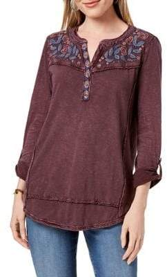 Style&Co. Style & Co. Petite Embroidered Cotton Top