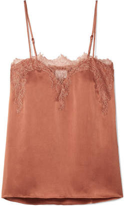 CAMI NYC The Sweetheart Lace-trimmed Silk-charmeuse Camisole - Coral