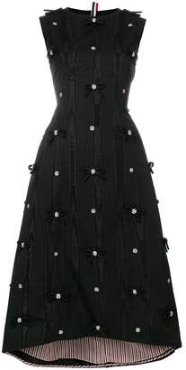 Thom Browne Sleeveless Bow Applique Silk Dress