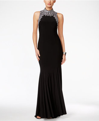 Betsy & Adam Embellished Mock-Neck Gown $299 thestylecure.com