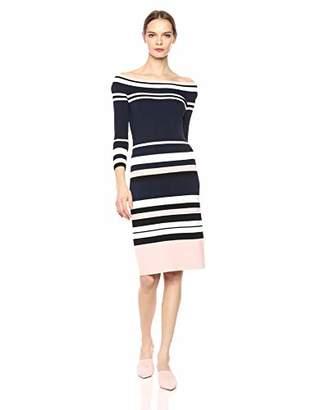 Eliza J Women's Striped Off The Shoulder Rib Knit Midi Dress