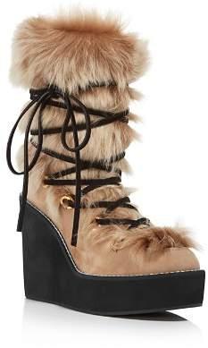 Stuart Weitzman Women's Nikita Round Toe Suede & Fur Wedge Boots
