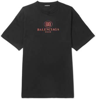 Balenciaga Printed Cotton-Jersey T-Shirt