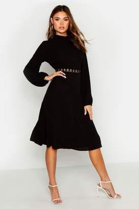 boohoo Woven Crochet Waist Midi Dress
