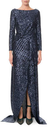 Roland Mouret Long-Sleeve Twisted Sequin Gown