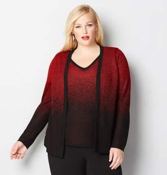Avenue Plus Size Red Lurex 2Fer Cardigan
