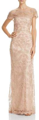Tadashi Shoji Illusion Off-The-Shoulder Lace Gown