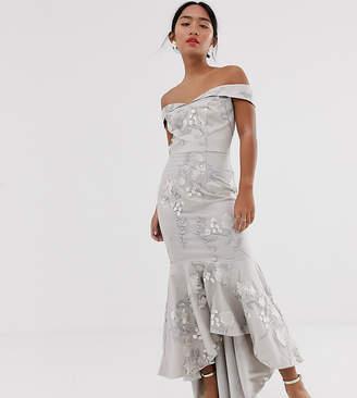Bardot Chi Chi London Petite fishtail maxi dress in grey