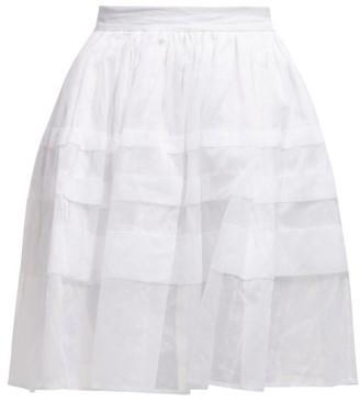 story. White Mia Pleated Cotton Voile Skirt - Womens - White