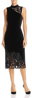 Alice + Olivia Kiana Velvet & Lace Sheath Dress