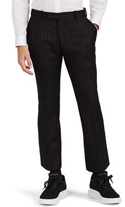 Alexander McQueen Men's Pinstriped Wool Flared Crop Trousers