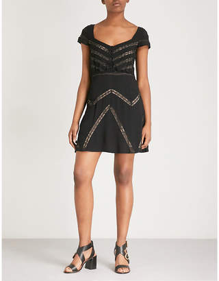 Free People Elle lace-panel crepe mini dress