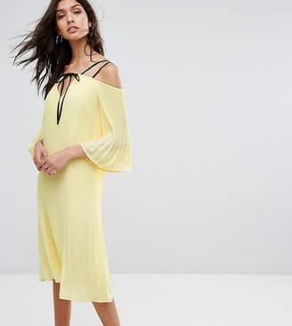 Warehouse Cold Shoulder V Neck Dress