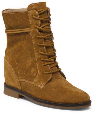 Hidden Wedge Comfort Suede Boots