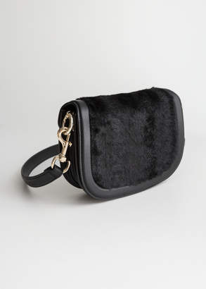 And other stories Faux Fur Mini Saddle Bag
