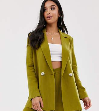 Asos DESIGN Petite linen suit blazer in olive