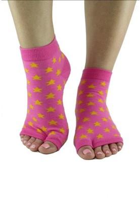 Toezies Pink Star Tabi Toe-less Grip Socks (S/M)