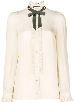 Gucci contrast neck tie shirt