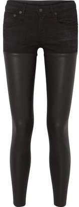 R13 - Chaps Leather-paneled Mid-rise Skinny Jeans - Black
