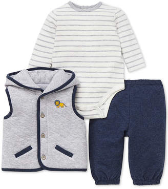 Little Me Baby Boys 3-Pc. Hooded Vest, Bodysuit & Jogger Pants