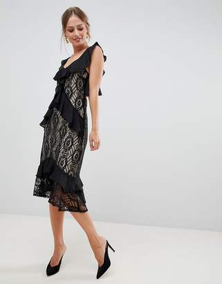 Liquorish midi dress with lace and ruffles