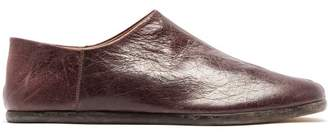 Maison Margiela Tabi Split Toe Crackled Leather Loafers - Mens - Burgundy