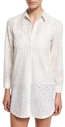 Alice + Olivia Tanisha Embroidered Button-Front Tunic, White $440 thestylecure.com