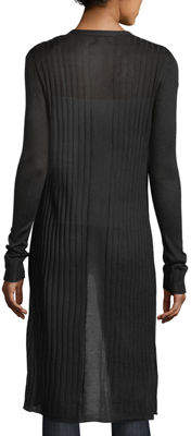 Neiman Marcus Long Open-Front Cardigan